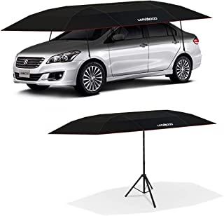 LANMODO Pro Semi-auto Car Umbrella Tent Cover Movable Carport Foldable with Anti-UV,Water-Proof, Proof Wind,Snow,Storm,Hail, Falling Objects Features 188.97X90.5 inch(4.8M Semi-auto with Stand, Black)