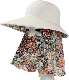 ZRL77y Ladies Wide Brim Sun Hat,Outdoor Neck Face Flap Hat,Packable,Adjustable, Summer Womens Shade Hat (Color : Beige)