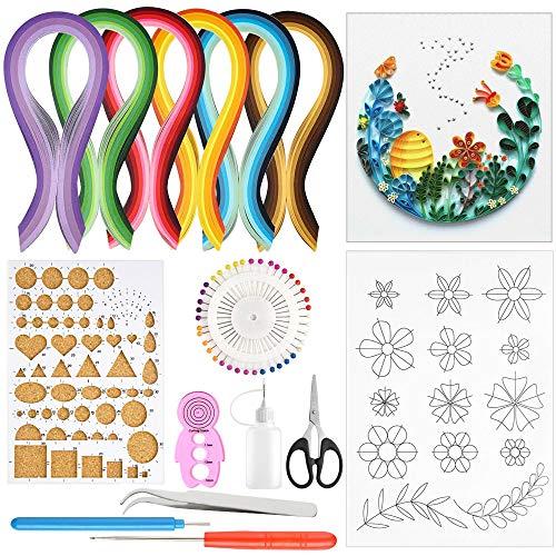 BUZIFU Kits de Papel de Filigrana con 600 Tiras de Papel para Filigranas y 9 Herramientas para Filigrana, 29 Colores, 5 mm, para Hacer Tarjetas, Cuadros y Accesorios de Decoración y Adornos de Fiestas