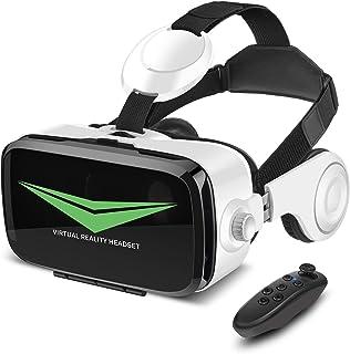 EchoAMZ 3D VRゴーグル VRヘッドセット「2019最新 Bluetooth コントローラ/リモコン付き 4.7-6.2インチ iPhone Androidスマホ対応 日本語取扱説明書付属」(白)