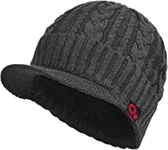 Janey&Rubbins Sports Winter Knit Visor Beanie with Bill Hat for Men and Women