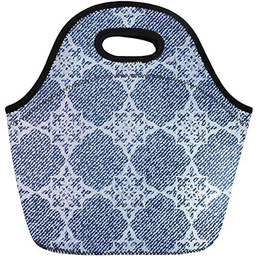 Lunch Tassen Patroon Blauw Mooie Elegantie Denim Jeans Canvas Klassieke Detail Neopreen Lunch Bag Lunchbox Tote Bag Draagbare Picknick Bag Cooler Bag