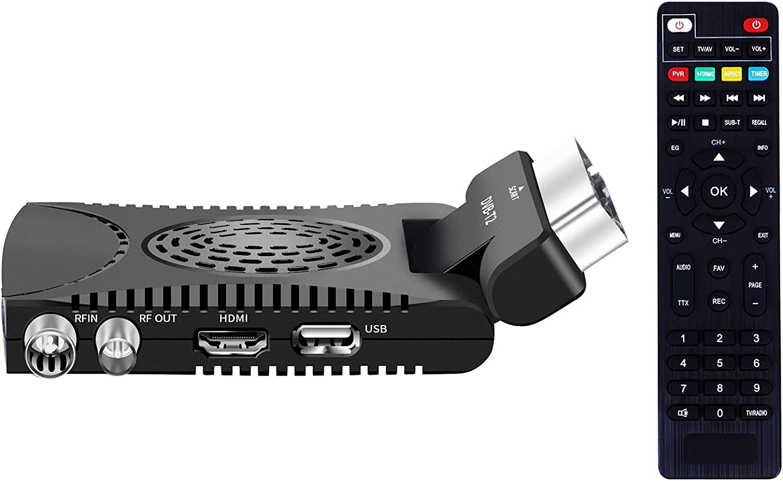 Decoder DVB-T2 SCART con telecomando universale 2 in 1