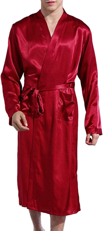 Whoyun Men's Silk Robe Bathrobe Sleeves Night Long Satin Soldering Ranking TOP9 Kimono