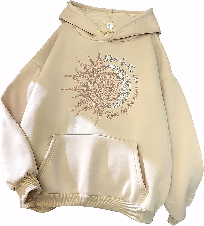 Sun Moon Hoodies for Women Long Sleeve Plus Size Cute Casual Sweatshirts Pullover