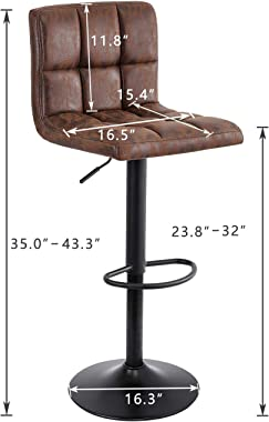 SUPERJARE Set of 2 Adjustable Bar Stools, Swivel Barstool Chairs with Back, Pub Kitchen Counter Height, Vintage Brown, Fabric