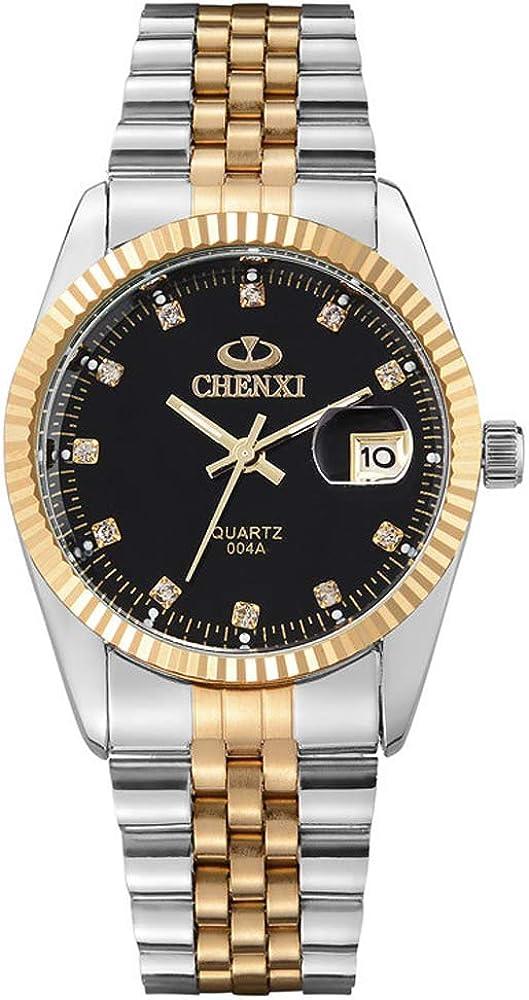 XLORDX–Reloj de pulsera de hombre, Business Casual, analógico, de cuarzo, fecha, Reloj dorado con esfera de Acero Inoxidable, Pulsera Negra