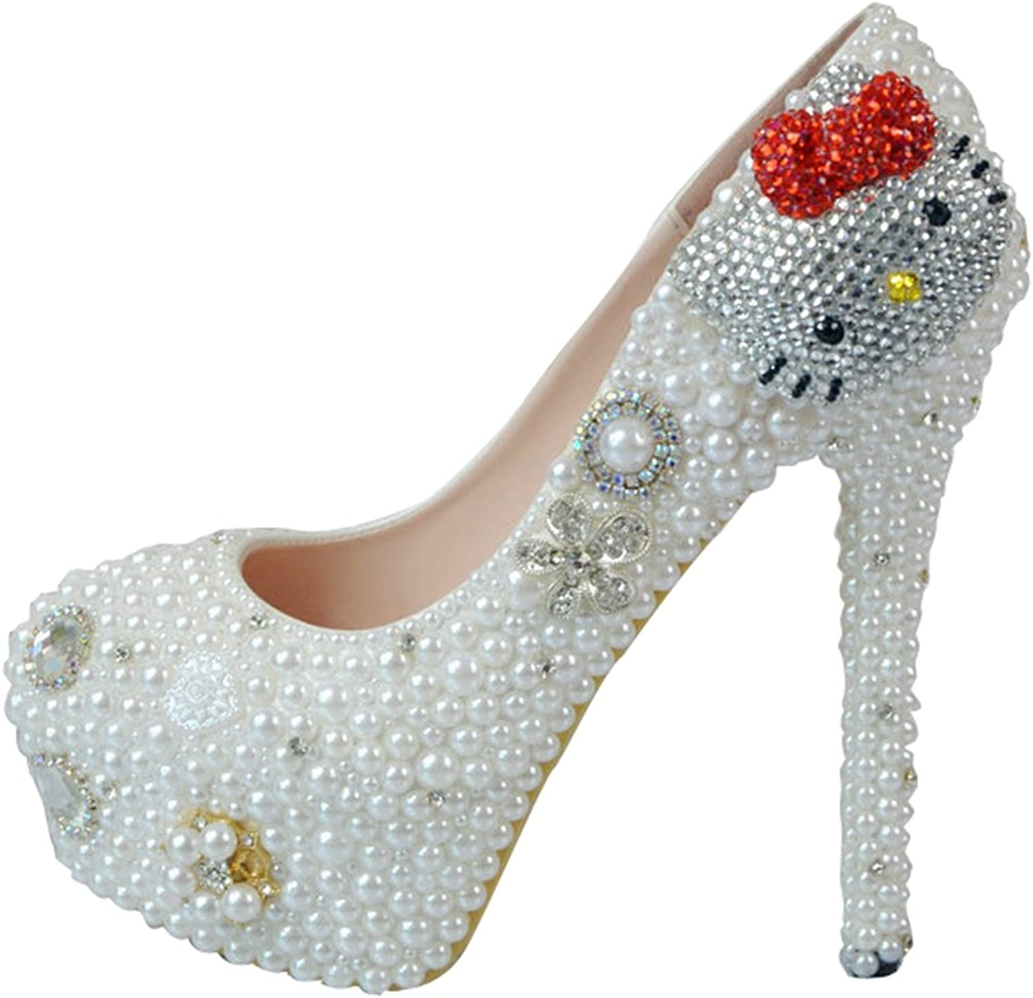 TDA Women's Cute Kitty Wedding Stiletto Pumps