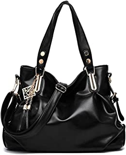 Pu handbag, soft leather shoulder bag, simple crossbody bag, travel bag, multi-layer structure design, can accommodate mobile phones, umbrellas, etc. (Color : Black, Size : One size)