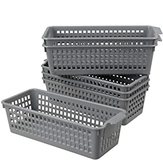 Doryh Long Plastic Basket Trays, Slim Pencil Organizer Grey, 6-Pack