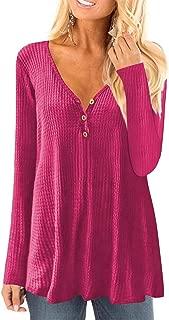 Womens Waffle Knit Long Sleeve Henley Shirts Tunic Loose Fit Plain Blouse Tops(M-3XL)