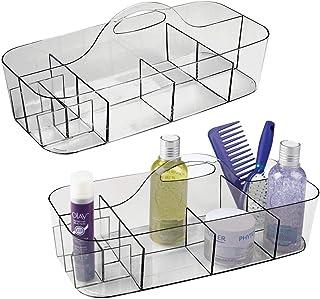 mDesign panier de salle de bain en plastique avec poignée (lot de 2) – rangement cosmétiques, cuisine ou range-torchons – ...