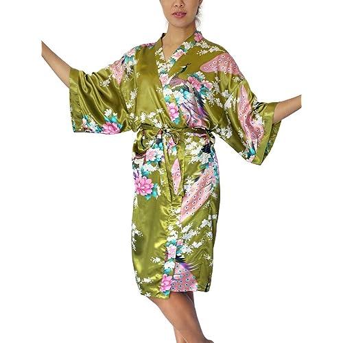 Tana Women s Satin Kimono Robe - Asian   Oriental Peacock Bathrobe 3d72aa6dc