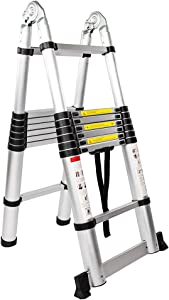 Aluminum Stretchable Ladder 16-Step Dual Joints Aluminum Stretchable Ladder Black & Silver