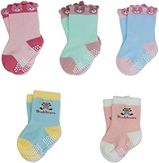 T.H.L.S Girls Socks 5 Pairs Kids Cotton Animals Cat Bear Toddler Crew Socks Age 0-15 Year