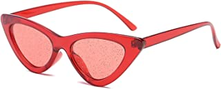 Small Cateye Vintage Sexy Cat Eye Frame Tint Red Shiny Lens Sun Glasses for Female UV400
