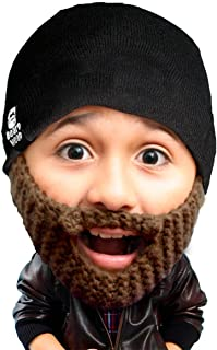 Kid Populous Beard Beanie - Knit Hat and Fake Beard for Kids Toddlers