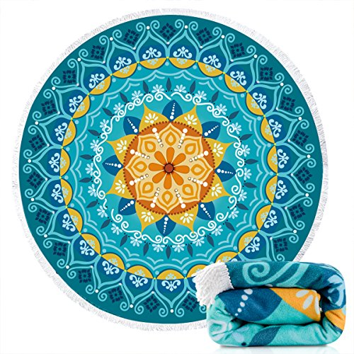 Ricdecor Round Beach Towel Blanket, Microfiber Mandala Beach Towels Oversized with Tassels Ultra Soft Water Absorbent, Multi Purpose as Round Picnic Mat Pool Towels Yoga Mat 59inch