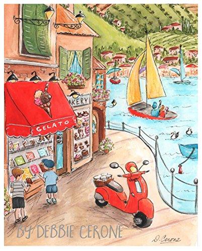"Italian Seaside, Gelato Shop, Red Vespa Scooter, Travel Theme Wall Art, Unframed Fine Art Print, 6 Sizes 5 x 7"" to 24 x 36"" Poster"