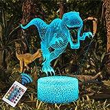 QiLiTd LED Lámpara de Mesa 3D Dinosaurio con Control Remoto Sensor Tacto, Regulable Lámpara de Noche de Atmósfera Modo RGB, Decoracion Cumpleaños, Navidad Regalos de Mujer Bebes Hombre Niños Amigas