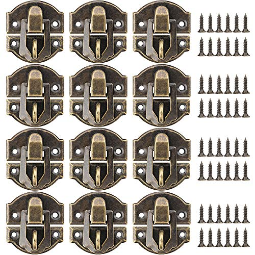 PAGOW 27MM Antique Brass Latch hasps, 30-Pack with Bronze Screws for Wooden Jewelry Box Cabinet Decorative, Suitcase Box Old Style Lock (30 Pack)