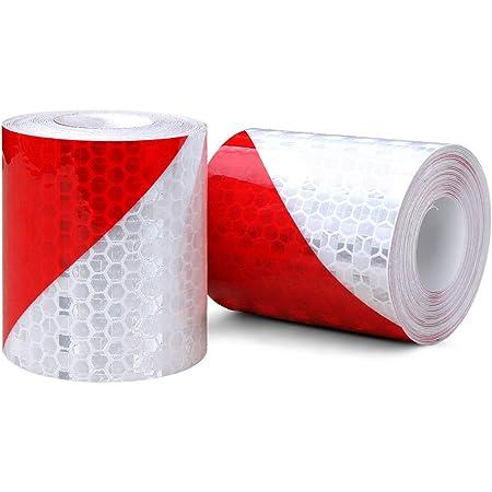 Bande Réfléchissante Auto-Adhésive Sécurité Haute Visibilite Blanc et Rouge 3D
