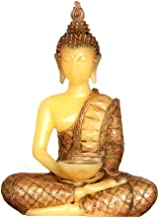 Thai Buddha Statues Candles holder with a Led Tealight candle with Timer,Real wax Candle Battery operated,35cm tall