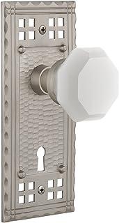 "Nostalgic Warehouse 749278 Craftsman Plate with Keyhole Waldorf White Milk Glass Knob Privacy, Backset Size: 2.375"", Satin..."