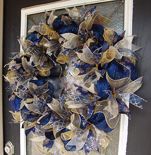 XL Dark Navy Blue and Gold Hanukkah or Christmas Deco Mesh Front Door Wreath, Porch Patio Garden, Wall Mantel Fireplace, Unique Gift Idea