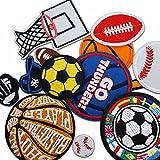 Miwind Lot de 12écussons appliqués thermocollants Thèmes basket-ball/tennis/rugby/football pour jeans/vêtements/vestes/sacs/foulards enfants