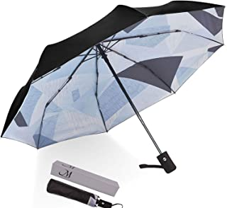 Marriarics Travel Umbrella Windproof, Black Glue Anti UV Coating, Compact Folding Umbrellas for Women Men, Auto Open Close (Spliced Triangle)