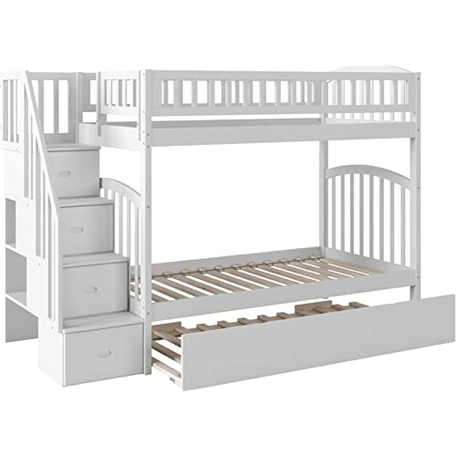 Amazon Com Atlantic Furniture Westbrook Staircase Bunk Bed With Urban Trundle Bed Twin Twin White Furniture Decor
