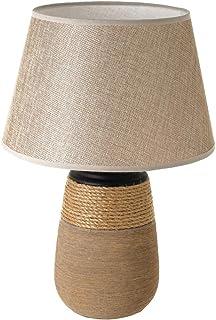 Lámpara de mesa cordón rústica de cerámica y arpillera marrón, de ø 27x39 cm - LOLAhome