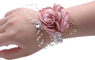 Florashop Satin Rose Wrist Corsage & boutonniere Wedding Bridal Bridesmaid Wrist Corsage Wristband and Men's Groom Bridegr...