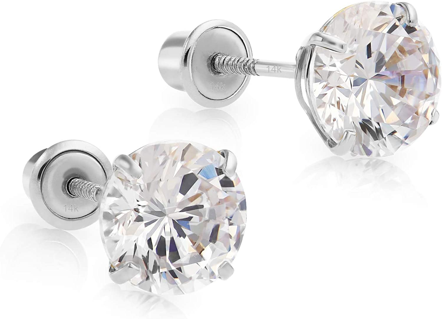 14k White Spring new work Max 60% OFF Gold Made with Cubic Zirconia Solitaire Stud SWAROVSKI