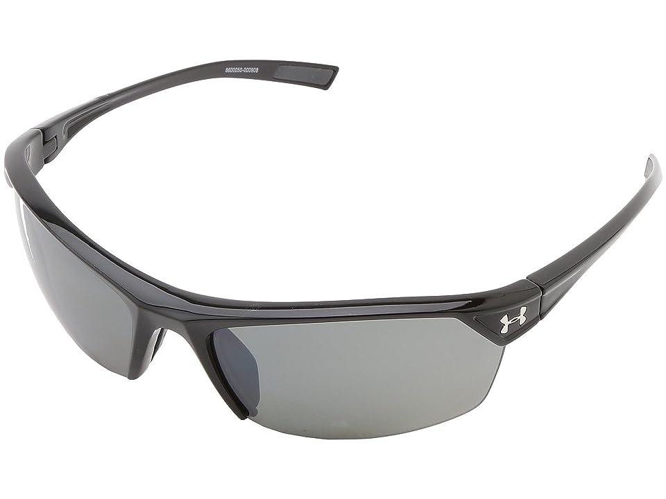 Under Armour UA Zone 2.0 (Shiny Black Frame w/ Charcoal Gray Rubber/Gray Polarized w/ Mult) Sport Sunglasses