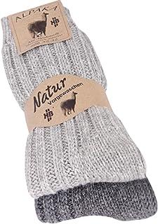 2fd0a007d4814 kb-Socken Lot de 2 paires de chaussettes unisexes cousues main en laine et  alpaga