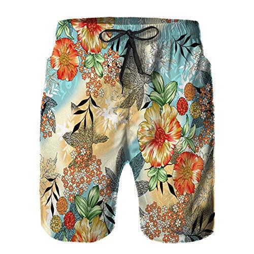 Aerokarbon Herren Beach Board Shorts Hose,nahtloses Aquarellblumenmuster,Schnelltrocknende Badebekleidung mit Netzfutter 2XL