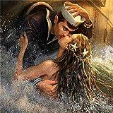 Kit de peinture diamant 5D à faire soi-même Sailor Mermaid Love peinture au point de croix, broderie de strass pour décoration murale de maison, cadeau 50x50cm W2739