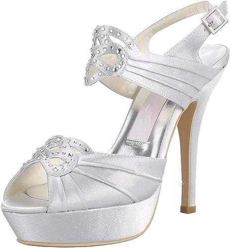 ZHRUI GYMZ708 Femmes Plateforme Slingback Satin Soirée De Bal Chaussures De Mariée De Mariage Pompes Sandales Flat (Couleuré   Ivory-12cm Heel, Taille   4 UK)