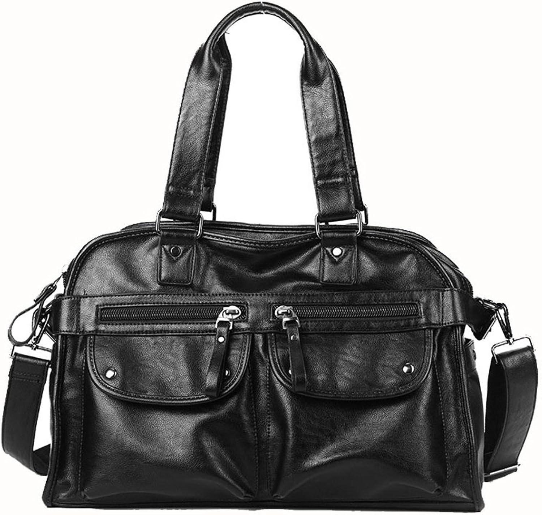 Sturdy Fashian Men's Portable Messenger Bags PU Leather Large-Capacity Handbag Portable Short Trip Travel Handbag Multifunctional Black Travel Handbag Large Capacity (color   Black)