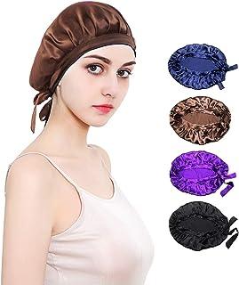 JHuuu 100% Mulberry Silk Sleep Cap Nightcap, Soft Bonnet Night Hat for Women Head Cover Bonnet for Hair Beauty With Elasti...