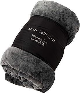 【Amazon.co.jp 限定】アイリスプラザ 毛布 ダブル フランネル 洗える 吸湿発熱 なめらかな肌触り 暖房対策 秋冬 ブランケット 180×200cm 無地 グレー FRMF-D