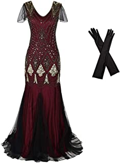 Women Evening Dress 1920s Flapper Cocktail Mermaid Plus Size Formal Gown with Long Gloves
