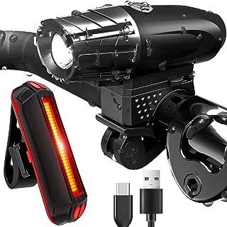TXG Luces Bicicleta Delantera y Trasera,Juego de Luces para Bicicleta IPX5 Resistente con 4 Modes,Linterna de Seguridad a ...