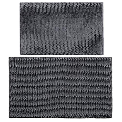 XIYUNTE Tappetini per Il Bagno - 2 pacchi tappetini da Bagno Morbidi in Microfibra Tappeti, Lavabili in Lavatrice Tappeti per Soggiorno,Bagno,Cucina,Zerbino, Grigio Scuro(40x60cm + 50x80cm)