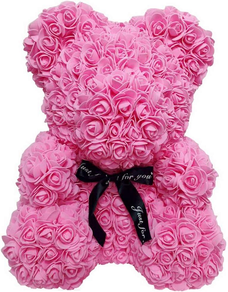 Christmas Silver Day Gift Syfinee Romantic Rose Bear Animal Teddy Cub Bear Artificial Rose Flower Bear Doll Ornament Valentine Day Gift for Anniversary