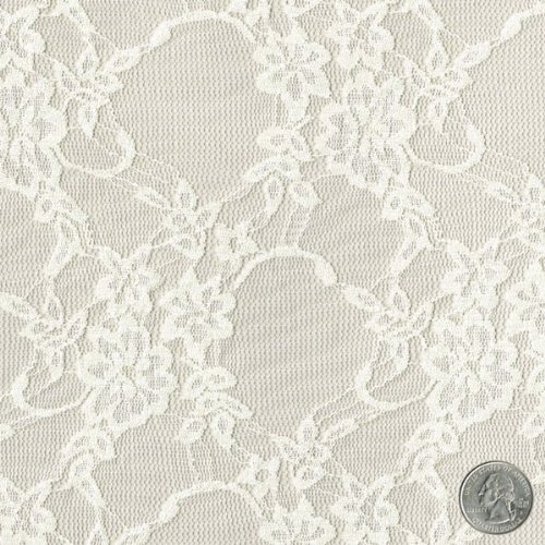 58' Ivory Daffodil Flower Design Stretch Lace Fabric by The Yard - 1 Yard