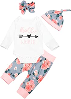 Newborn Baby Girl Clothes Hello World Romper Tops+Harem Floral Pants with Headband Outfits Set