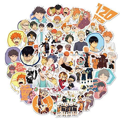 Haikyuu pegatinas, Bibonse 120 pegatinas de vinilo impermeables de anime japonés para niños, adolescentes, decoración del hogar, botella de agua, computadora, monopatín, paredes y más